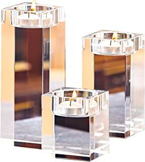 METCRY Crystal Candle Holder Set of 3,Translucent K9 Crystal Candlestick Set for Dining Table Decorations,Gifts for Thanksgiving/Birthday/Housewarming
