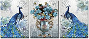 DekHome Blue Peacock Elegant Flower Bouquet Vase Giclee Picture Painting Prints 3 Piece Animal Peacock Wall Art Stretched and Framed Vintage Home Office decor 12
