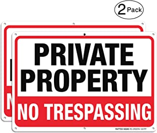 Private Property No Trespassing Metal Sign (2 Pack), 10 x 7 Inches Rust Free .040 Aluminum Sign – Reflective – Weatherproof - Easy to Mount - Indoor & Outdoor use