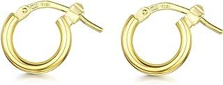 Amberta Cerchi in Argento Sterling 925 – Placcato Oro 18K – Orecchini Creoli a Cerchio – Diametro: 7 10 15 20 25 35 45 55 mm