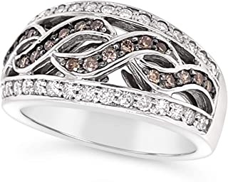 14k White Gold Chocolate Brown and White Diamond Crossover Ring For Women (4/5 Carat)