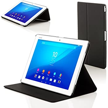 Forefront Cases Hülle für Sony Xperia Z4 Tablet 10.1 SGP771 Schutzülle Case Cover & Ständer - Dünn Leicht, Rundum-Geräteschutz & Auto Schlaf Wach Funktion - Schwarz