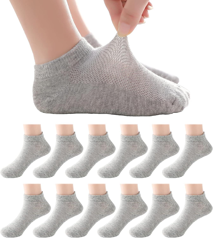 Boys Girls Toddler Ankle Socks 12 Packs No Show Cotton Kids Socks Cushion Thin