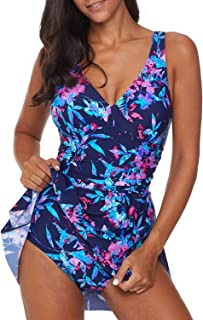 Dokotoo Women One Piece Swimdress Floral Print&Solid Swim Dress Plus Size Swimwear Skirt Swimsuits Bathing Suit Dress