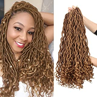 3 Packs/Lot Faux Locs Crochet Hair Braids 24 Roots/Pack Goddess Faux Locs with Curly Ends Deep Wave Wavy Twist Braiding Hair Synthetic Hair Extension (3 Packs, 27)