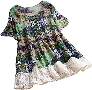 TINGZI Women Tees Pleated Floral Lace Patchwork Shirts Short Sleeve Vintage Top T-Shirt Blouse Loose Tunic