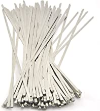 Quwei Stainless Steel Cable Ties-Locking Metal Zip-Exhaust Wrap Coated 100Pcs 11.8 Inches Multi-Purpose Locking Cable Ties