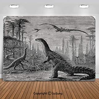 8x8Ft Vinyl Fantasy House Decor Backdrop for Photography,Dinosaurs Dragons in an Araucaria Landscape Primitives on Earth Trex Illustration Print Background Newborn Baby Photoshoot Portrait Studio Prop