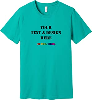 Custom T Shirts Add Your Text for Men & Women Unisex Cotton Bella+Canvas Premium T-Shirt Personalized Message, Image, or Logo