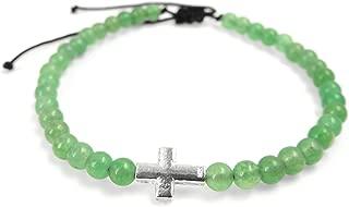 Natural Green Aventurine Healing Gemstones Handmade Adjustable Drawstring Braided Bracelet Men's Women's Religious Jewelry, 4mm Small Prayer Beads, Non-Plated 925 Genuine Sterling Silver
