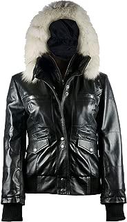 FE- Arctic Black Leather Bomber Jacket Women with Removable Fur Hood - Stylish Biker Design