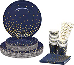 175PCS Disposable Cutlery Set for 25 Guests Blue and Gold Party Cutlery Set Includes Dinner Plate Salad Plate Napkin Cup K...