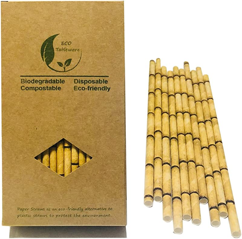 Yellow Bamboo Drinking Paper Straws NO Plastic Straws Compstable Paper Straws 100 100 Organic Kraft Friendly Bamboo Desigen