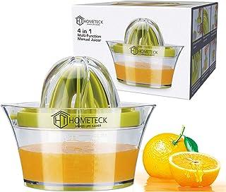 HomeTeck® Exprimidor Manual de Limón 4 en 1, Exprimidor de Naranjas, Limas; Plástico, Sin BPA, Vaso Medidor Integrado y Ra...
