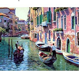 Paint By Numbers Birthday Gift _Diy Digital Paintingliving Room Birthday Gift Venice Town@Picture Style_No Inner Frame 40X...