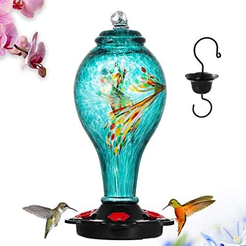 LUJII Hummingbird Feeder, Hand Blown Glass Hummingbird Feeder, Never Fade, 36 Fluid Ounces, 5 Feeding Metal Stations,...
