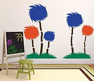 Dr. Seuss Wall Decor - Tufted Trees Classroom Decor- The Lorax Playroom Child Bedroom Nursery Party Decoration - Vinyl Wall Decal