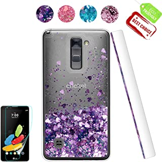 LG Stylo 2 V Case, LG Stylo 2 / Stylo 2 Plus/Stylus 2 Case with HD Screen Protector, Glitter Moving Liquid Luxury Bling Diamond Bumper Clear TPU Protective Back Cute Cover for LG LS775 Purple