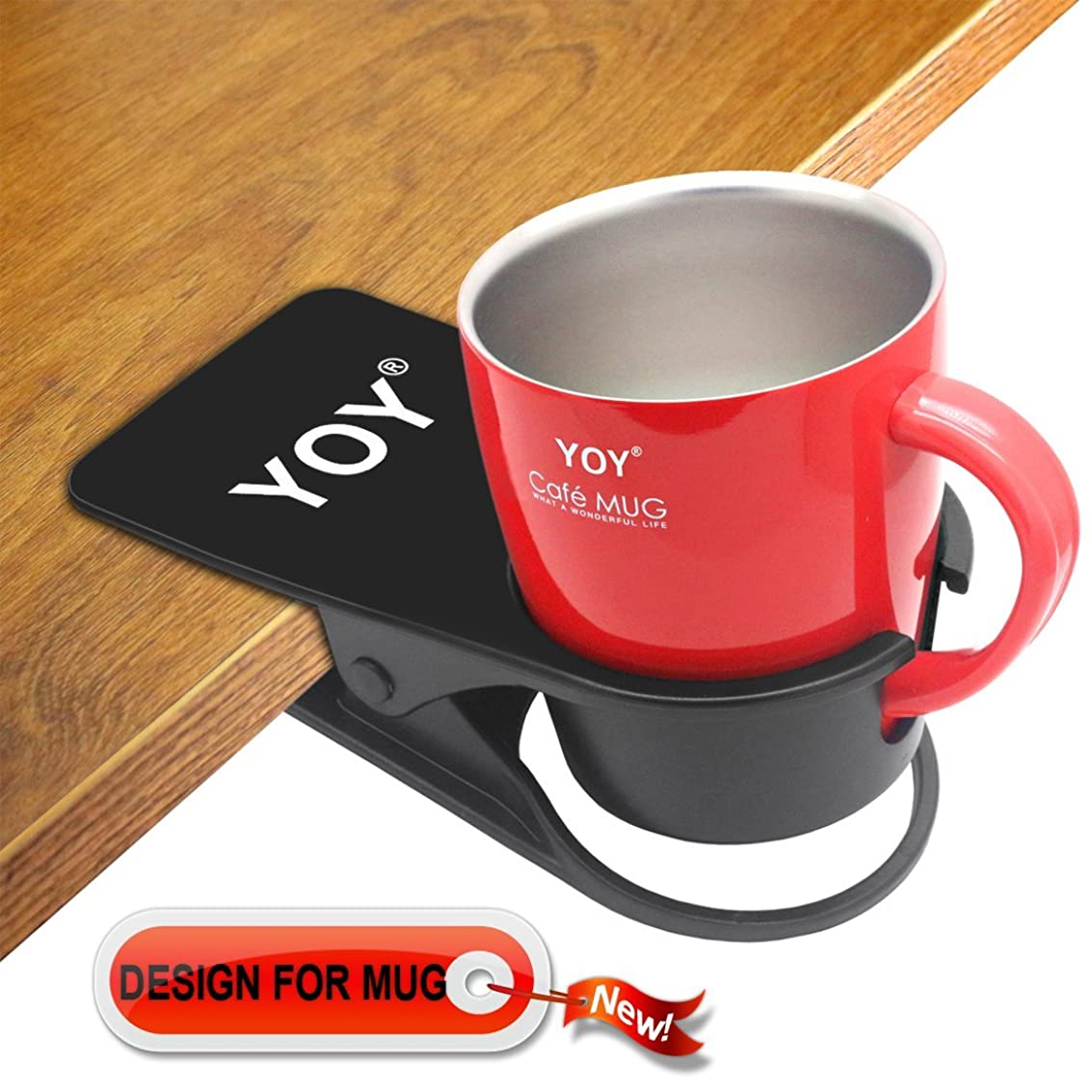 YOY Drink Cup Holder Clip - Table Desk Side Water Glass Beer Bottle Beverage Soda Coffee Mug Holder Cup Saucer Clip Design for Home Office, Black bdiob0273653384