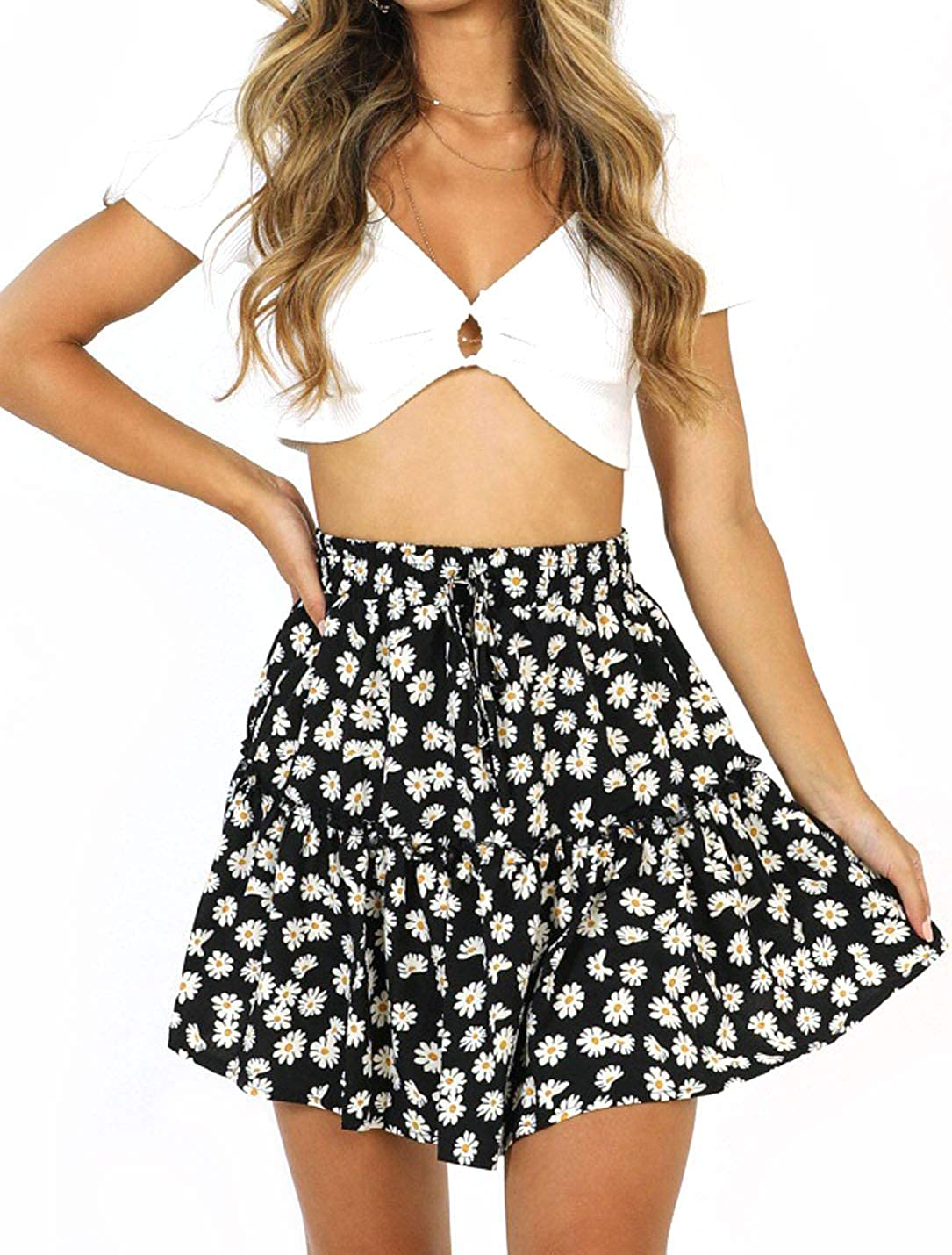 Flygo Women's High Waisted Ruffle Floral Flare Pleated Swing Mini Skater Skirt with Drawstring