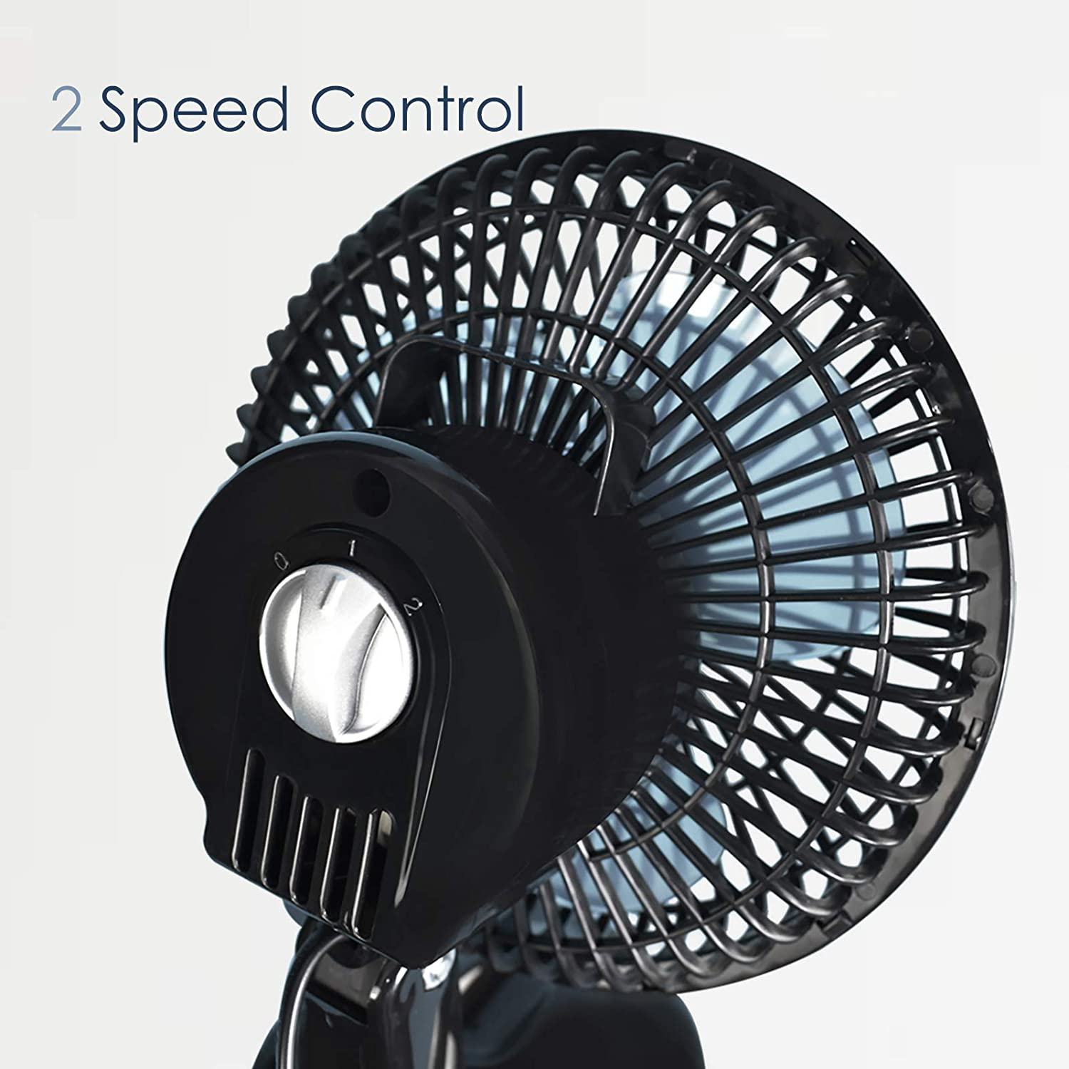 Black Quiet Operation 2 Speed Portable Air Cooling Fan Ideal for Home and Office AirArtDeco 6 Inch Personal Desk Fan