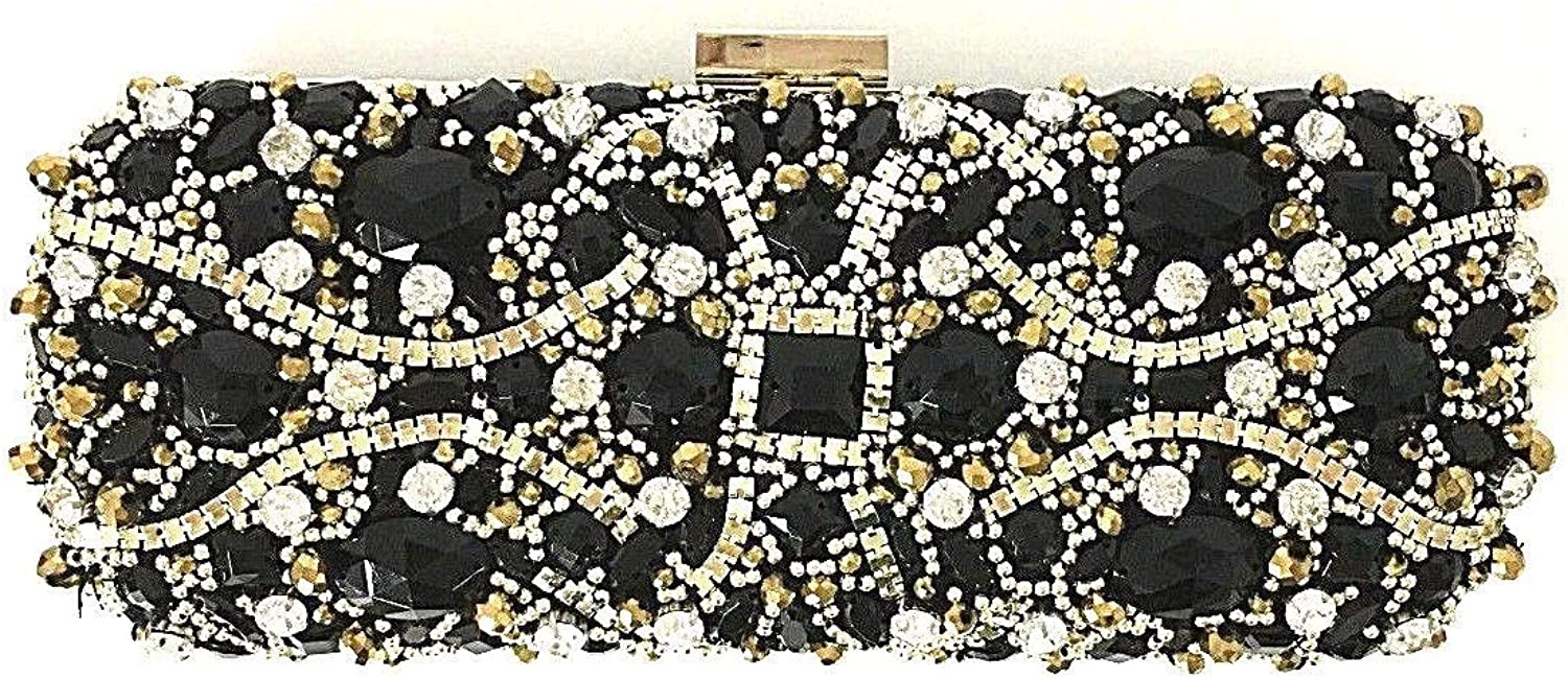 INC Womens Elsiee Embellished East West Evening Clutch Black Small