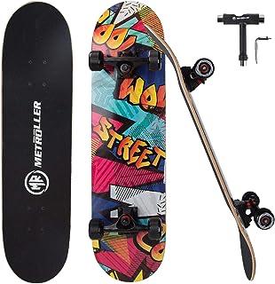 "METROLLER Skateboard, 31""x 8"" Complete Standard Skate Boards for Girls Boys Beginner, Double Kick Concave Skateboards for Kids Youth Adult Teens"