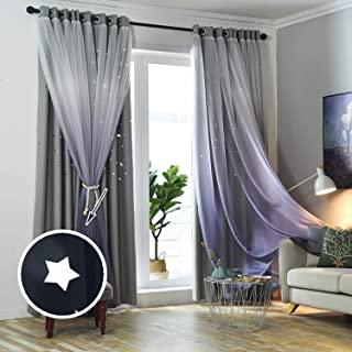 Hughapy Gradient Tulle Overlay Hollow-Out Stars Curtain...