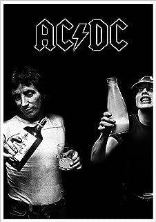 Buyartforless AC/DC Milk and Alcohol-Bon Scott Angus Young 34x24 Music Band Print Poster Decorative Art, Wall Décor, Black, White