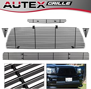 AUTEX T87742H Main Upper Grille + Hood Scoop Grill +Lower Bumper Black Aluminum Billet Grille Compatible With Toyota Tacoma TRD Sport 2005 2006 2007 2008 2009 2010 2011 Grill