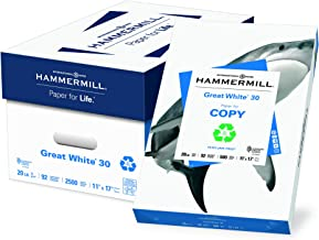 Hammermill Paper, Great White 30% Recycled Printer Paper, 11 x 17 Paper, Ledger Size, 20lb Paper, 92 Bright, 5 Reams / 2,500 Sheets (086750C) Acid Free Paper