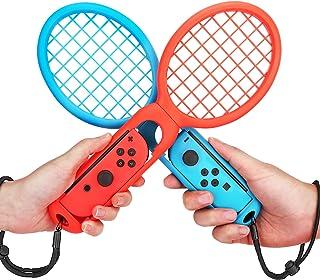 ATIC Nintendo switch Joy-Con用 テニスラケット switchテニスゲームラケット ABS製 精確対応 高感度 臨場感 ストラップ付き 落下防止 装置簡単 手触り良い 軽量 耐久性 2個セット Red+Blue