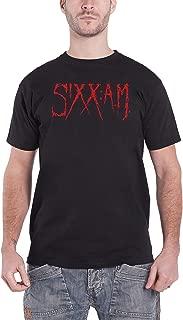 Sixx Am T Shirt Original Drip Red Band Logo Distressed Official Mens Black