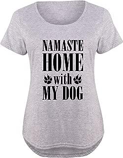 Namaste Home with My Dog - Ladies Plus Size Scoop Neck Tee