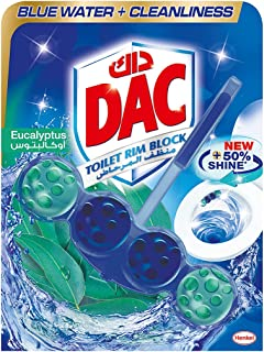 DAC Toilet Rim Block Blue Active - Eucalyptus (50g) Blue Water + Cleanliness, with 50% More Shine, Extra Freshness, Cleani...