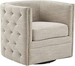 Madison Park MP103-0482 Capstone Swivel Chair - Solid Wood, Plywood, Metal Base Accent Armchair Modern Classic Style Family Room Sofa Furniture, Cream