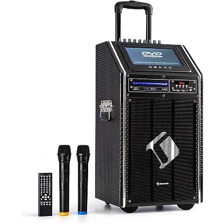 "auna DisGo Box 100 DVD - Mobile PA-Anlage, 300 Watt max., 9"" TFT-Display, DVD, Bluetooth, verlängerter Trolley-Griff, 2 x UHF-Funkmikrofon, schwarz"