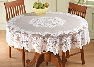 Collections Etc Classic Elegant White Floral Lace Tablecloth - Stand Alone or Layered Over Solid Color for Beautiful Accent, White, 60In