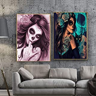 2 Pack Halloween Diamond Painting Kit Skull Girls 5D Full Drill Rhinestone Painting Kits for Adults DIY Embroidery Arts Craft Home Decor 12 x 16 Inch