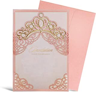 WISHMADE Pink Laser Cut Wedding Invitation Card with Gold Embossed Crown Design Printable Blank Paper Sleeve for Engagement Invites with Envelope, 1pcs,