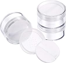 Hotop 3 Pieces 50 ml Plastic Empty Powder Case Face Powder Makeup Jar Travel Kit Blusher Cosmetic Makeup Containers with Sifter and Lids (Clear with powder puff)
