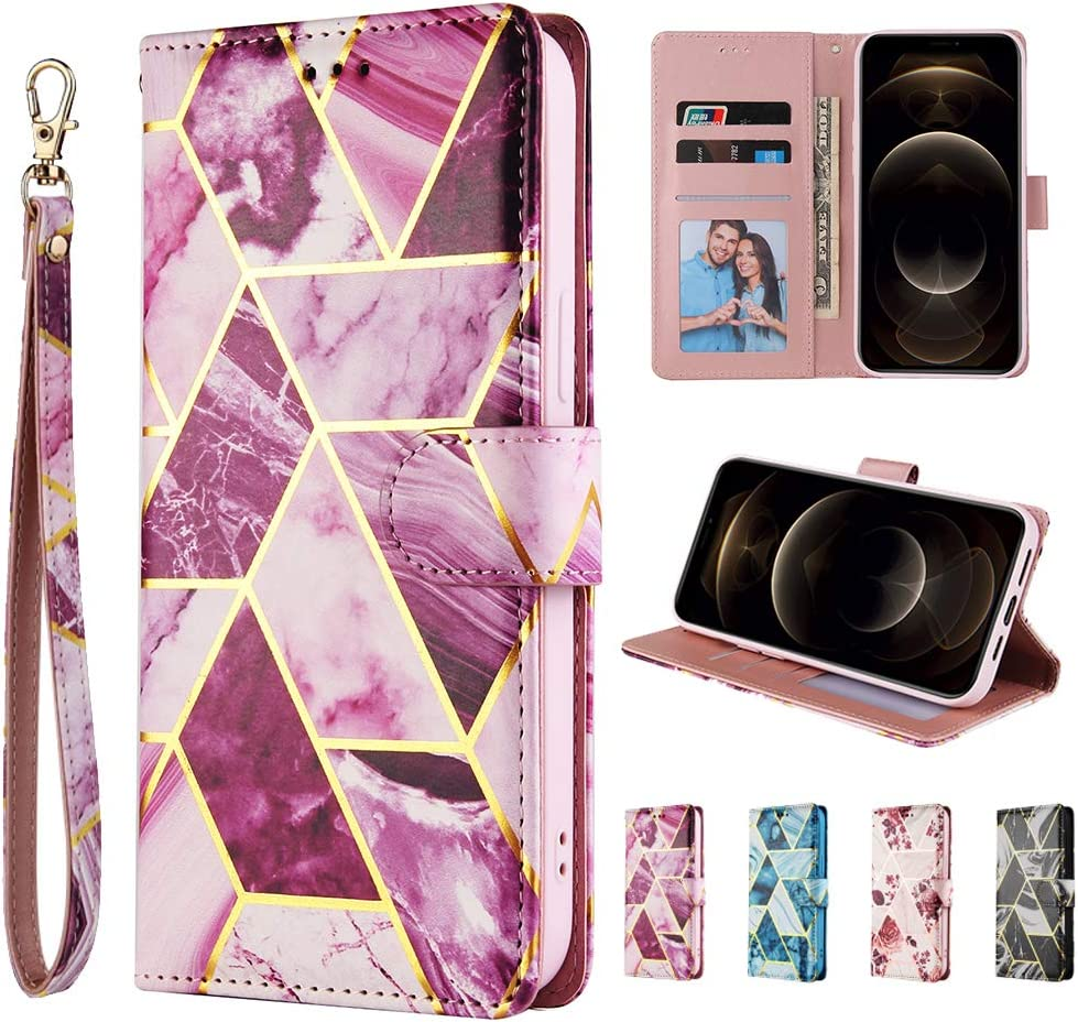 SEEYA Wallet Case for Samsung Galaxy A21s Marble Glitter Gold Stripe Design Magnetic Flip Leather Case Folio Cover with Card Holders Women Purse Bookstyle Phone Holster for Galaxy A21s Blue
