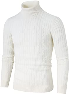uxcell Men's Turtleneck Sweaters Ribbed Cable Casual Turtle Neck Thick Sweater Pullover
