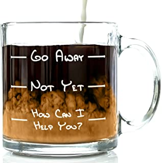 Go Away Funny Glass Coffee Mug 13 oz – Unique Father's Day Gift For Men &..
