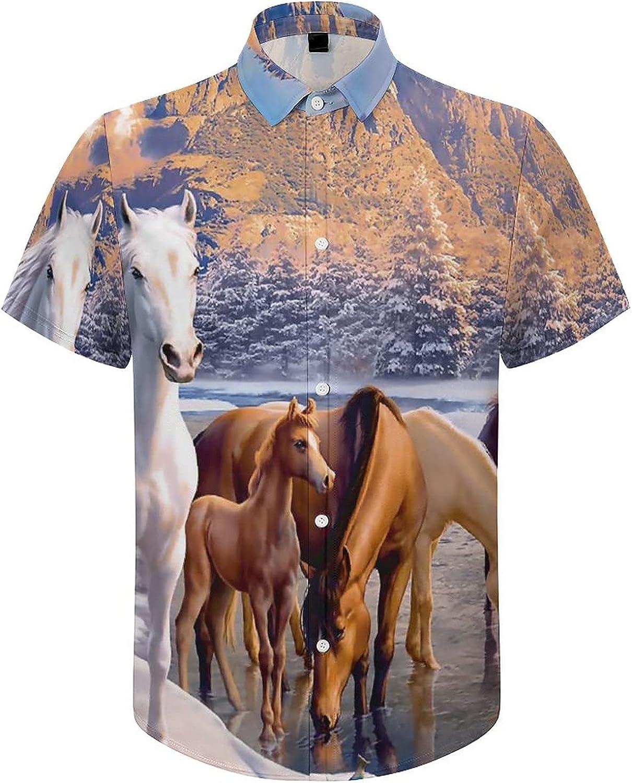 Men's Short Sleeve Button Down Shirt Winter Horses Drinking Water Summer Shirts