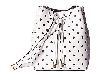 LAUREN Ralph Lauren Dryden Polka Dot Print Debby II Drawstring (Optic White/Black) Handbags