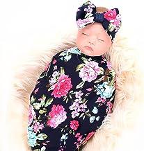 Best Newborn Receiving Blanket Headband Set Flower Print Baby Swaddle Receiving Blankets ga Reviews