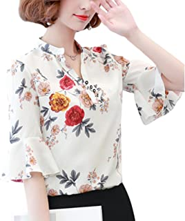 Women's Puff Half Sleeve Shirt Buttons V Turtleneck Blouse Floral Print Chiffon Baggy Tops Tees