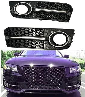 For Audi A4 B8 09-12 Base Honeycomb Front Bumper Fog Light Cover Glossy Black