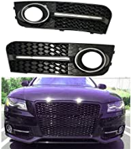 For Audi A4 B8 09-12 Base Honeycomb Front Bumper Fog Light Cover Glossy Black